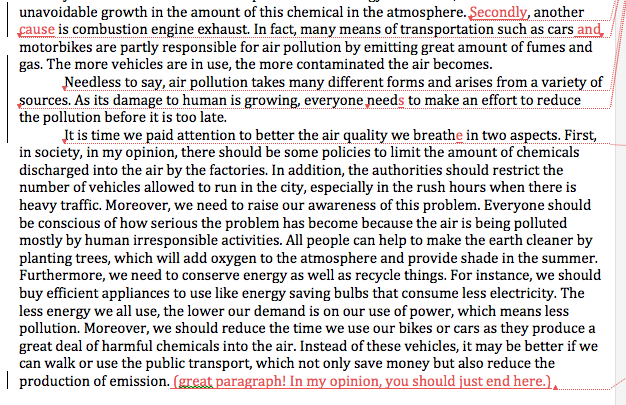 car pollution essay